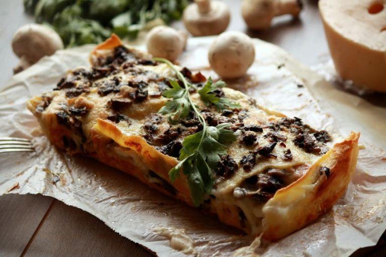 lasagna with mushrooms, ham and cheese