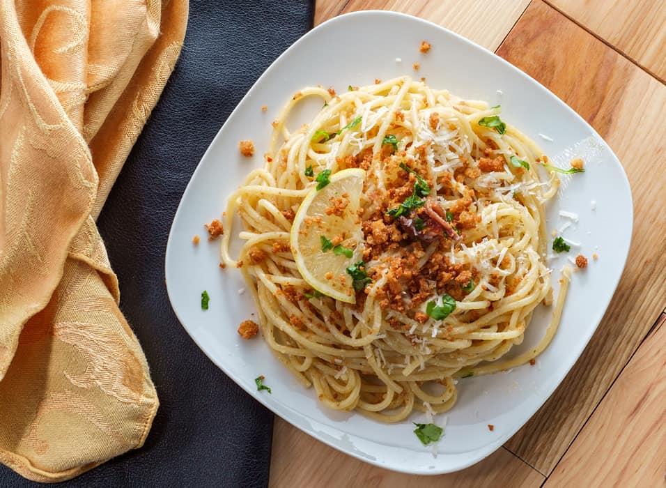 Low Protein Lemon and Pangrattato Spaghetti